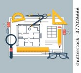 architectural blueprints and... | Shutterstock .eps vector #377026666