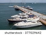 motor boats at the pier on the...