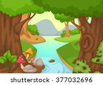 illustration of forest with a...