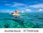 muscular surfer with long white ... | Shutterstock . vector #377034166