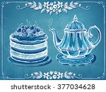 illustration tea time with... | Shutterstock .eps vector #377034628