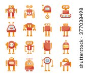 red robot icons set  cute... | Shutterstock .eps vector #377038498