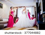 pretty blonde bride with four... | Shutterstock . vector #377044882