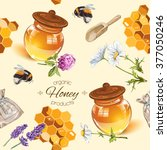Honey Seamless Pattern With...