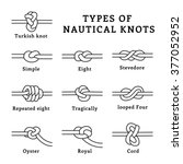 types of nautical knots  vector ... | Shutterstock .eps vector #377052952