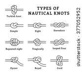 types of nautical knots  vector ...   Shutterstock .eps vector #377052952