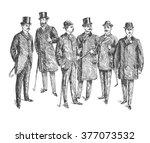 vintage hand drawn gentleman... | Shutterstock .eps vector #377073532