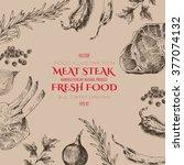 vector meat steak sketch...   Shutterstock .eps vector #377074132