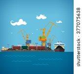 sea port  unloading coal or ore ... | Shutterstock .eps vector #377075638