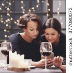 friendship. women with wine and ... | Shutterstock . vector #377080072