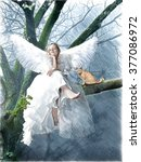 angel with a cat sitting on a... | Shutterstock . vector #377086972