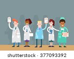 group medial doctors team... | Shutterstock .eps vector #377093392