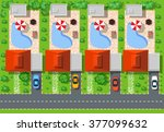 top view of houses and streets... | Shutterstock .eps vector #377099632