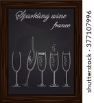five beautiful champagne... | Shutterstock .eps vector #377107996