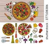 tasty pizza on wooden table.... | Shutterstock .eps vector #377108386