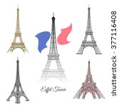hand drawn eiffel tower in... | Shutterstock .eps vector #377116408