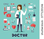 woman doctor in a full height... | Shutterstock .eps vector #377120146