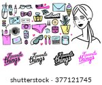 background with girls favorite... | Shutterstock .eps vector #377121745