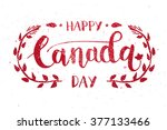 happy canada day hand drawn... | Shutterstock .eps vector #377133466