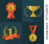 set of trophy and awards icons. ... | Shutterstock .eps vector #377133475