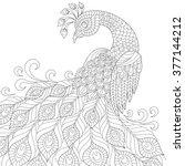 decorative peacock. adult anti... | Shutterstock .eps vector #377144212