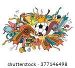 doodle colorful soccer... | Shutterstock .eps vector #377146498