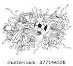 doodle white soccer composition ... | Shutterstock .eps vector #377146528