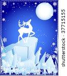 vector of winter deer on the...   Shutterstock .eps vector #37715155
