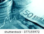 euro coins and us dollar... | Shutterstock . vector #377155972