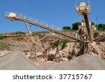sand exploitation - stock photo