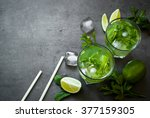 tradition summer drink mojito... | Shutterstock . vector #377159305