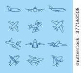 airplane and aircraft thin line ...   Shutterstock .eps vector #377163508