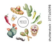 mexico background. hand drawn... | Shutterstock . vector #377165098