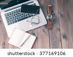 top view desk with laptop | Shutterstock . vector #377169106