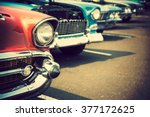 Stock photo classic cars in a row 377172625