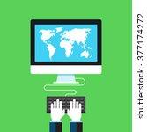 world map on screen. flat... | Shutterstock .eps vector #377174272