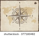 vintage nautical compass. old... | Shutterstock .eps vector #377183482