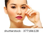 woman with full make up... | Shutterstock . vector #377186128