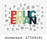 law concept  policeman on wall... | Shutterstock . vector #377203192