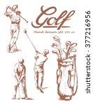 set of hand drawn golf. vector... | Shutterstock .eps vector #377216956