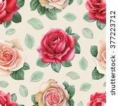 watercolor rose flowers... | Shutterstock . vector #377223712