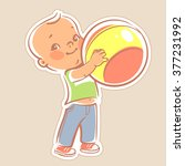 cute little boy holding bright... | Shutterstock .eps vector #377231992