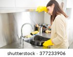 hand cleaning.young housewife...   Shutterstock . vector #377233906