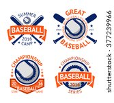 set of old style baseball... | Shutterstock .eps vector #377239966