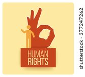 human rights design over yellow ... | Shutterstock .eps vector #377247262