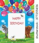 greeting card  happy birthday ... | Shutterstock . vector #377255656