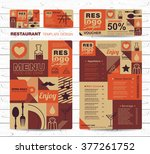 big set of restaurant and cafe... | Shutterstock .eps vector #377261752