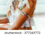 bohemian hippie girl in white... | Shutterstock . vector #377265772