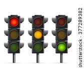 traffic light sequence on white ...   Shutterstock .eps vector #377289382