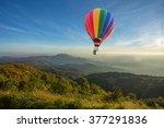 hot air balloon above high... | Shutterstock . vector #377291836